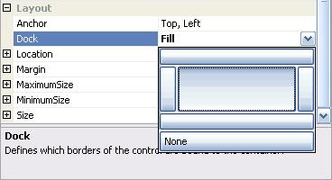úprava vlastnosti Dock pomocí dropdowneditoru