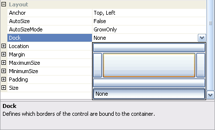Ukázka DropDownEditoru - editor vlastnosti Dock