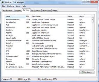 Windows Task Manager - Services