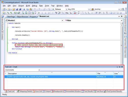 Task List - Visual Studio