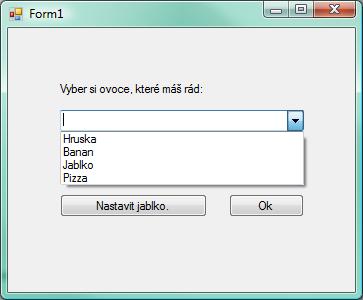 Formulář s upraveným ComboBox