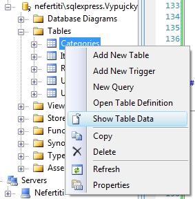 Zobrazení dat tabulky Categories