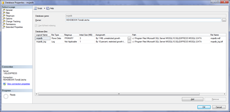 Database properties - files