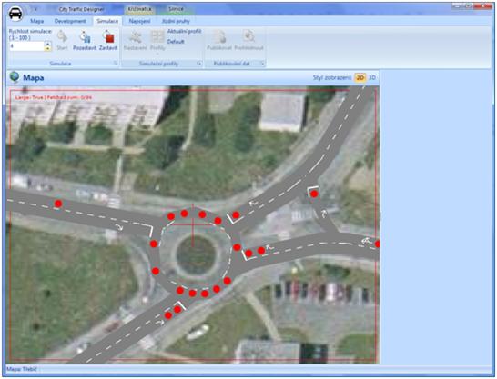 Simulace provozu na kruhovém objezdu
