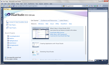 Start Page - Visual Studio 2010