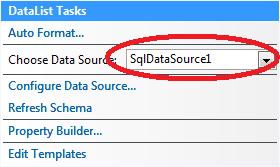 Nastavení datového zdroje do DataListu