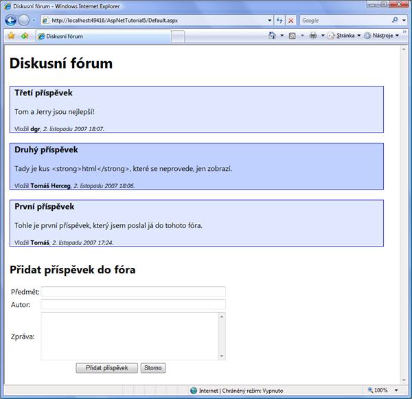 Diskusní fórum s jednoduchým CSS stylováním