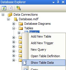 Zobrazení dat tabulky