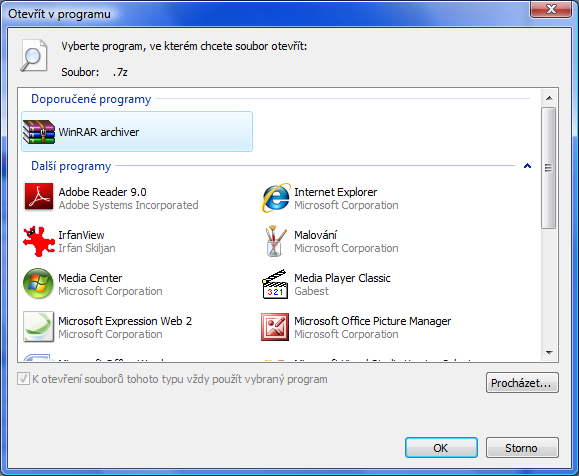 Program, který se použije k otevření souboru