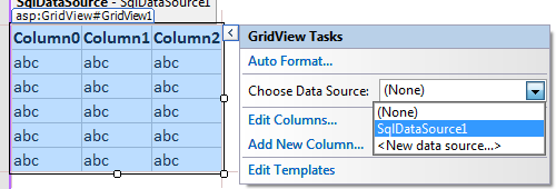 Propojení GridView s komponentou SqlDataSource