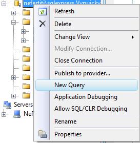 Spuštění SQL proti databázi