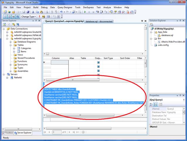 Vložte SQL kód