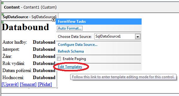 Úprava šablon - tlačítko Edit templates