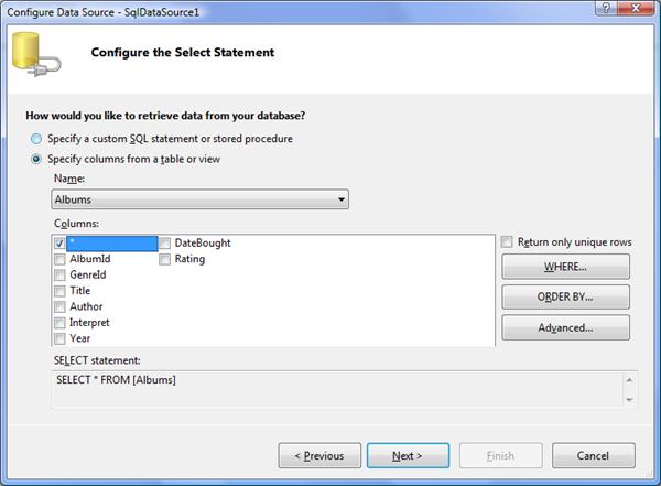 Nastavení SQL dotazu