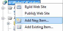 Přidání nové položky do projektu
