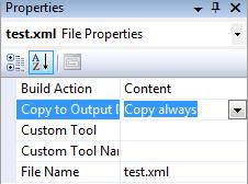 Nastavní vlastnosti Copy To Output Directory
