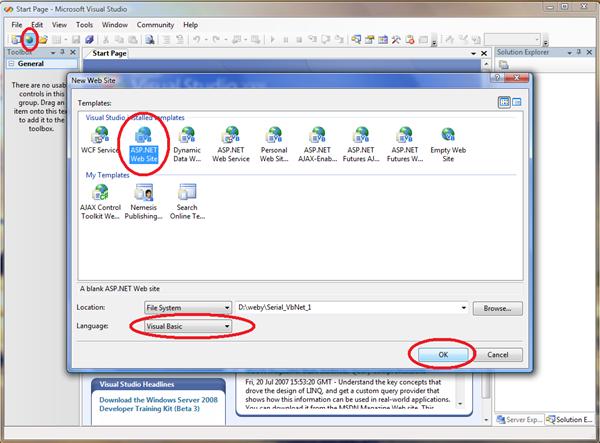 Vytvoření nového webu v aplikaci Visual Web Developer