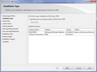 Installation type SQL Server 2008
