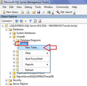 New table - context menu SQL Server Management Studio