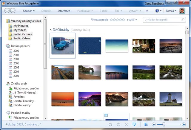 Windows Live Fotogalerie - musíte si ji stáhnout, v systému není