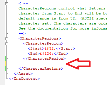 spritefont file xna characterregions