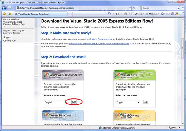Stažení Express edice vývojového prostředí