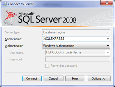 Login - Connect to Server - Microsoft SQL Server Management Studio Express