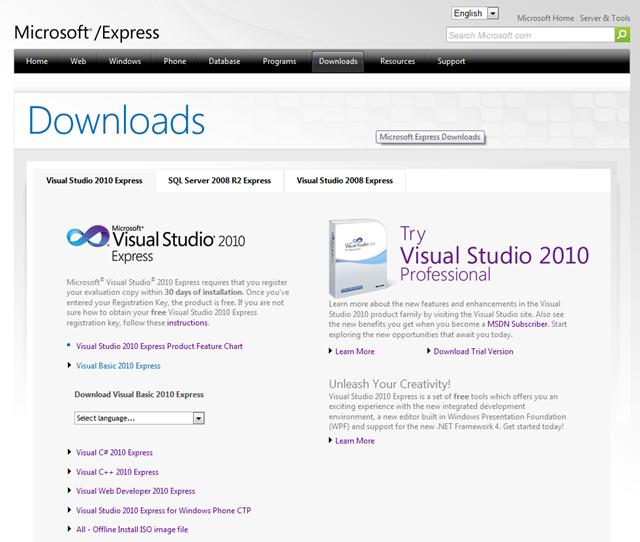 Stažení Visual Basic 2010 Express