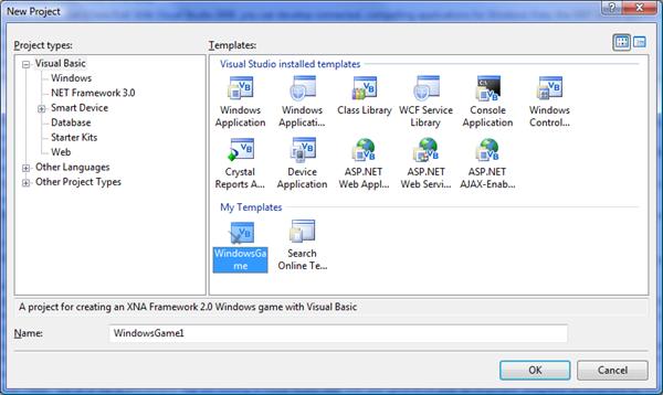 Vytvoření nového projektu Windows Game
