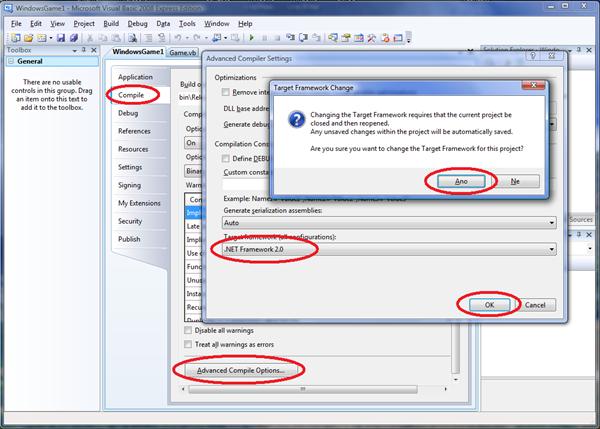 Nastavení verze .NET Frameworku pro Visual Studio 2008